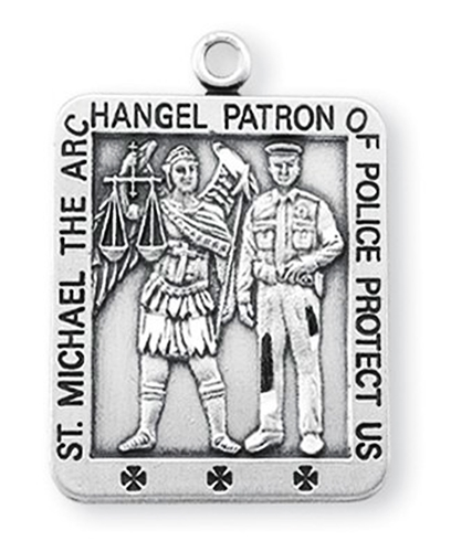 "Saint Michael 1-1/16"" Square Sterling Silver Medal"